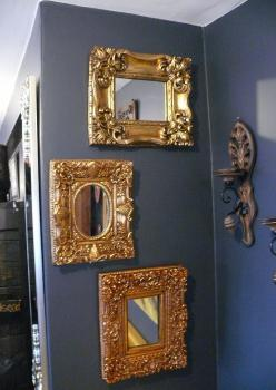 3 lü Dekoratif Ahşap Orjinal Altın Varak Ayna