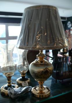 Cam Üzeri Altın İşleme Pirinç Kaplama Abajur Duman Gri