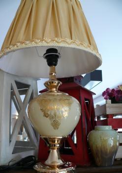 Cam Üzeri Altın İşleme, Pirinç Kaplama Abajur (Krem-Altın)