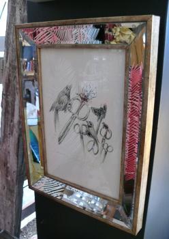 Küçük Aynalı Kuşlu Cam Çerçeve