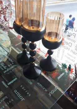 3lü metal siyah şamdan