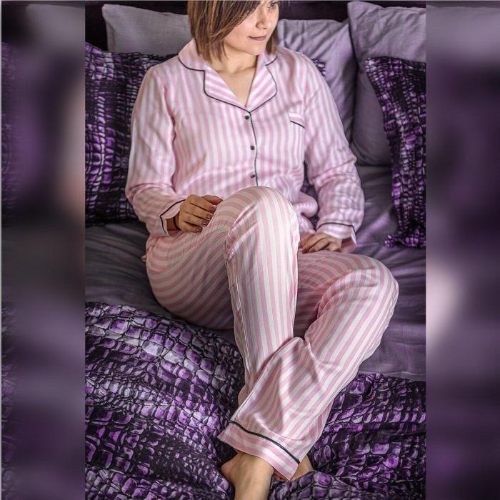 Pembe Beyaz Çizgili Pamuk Saten Pijama Takımı