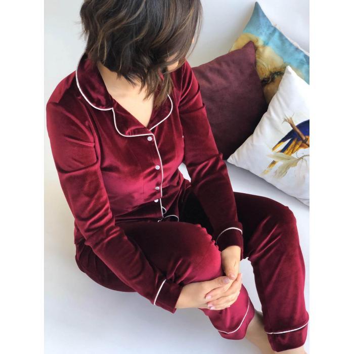 Bordo Kadife Pijama Takım