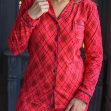 Kırmızı Desenli Penye Pijama Takım
