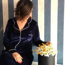 Lacivert Kadife Pijama Takım