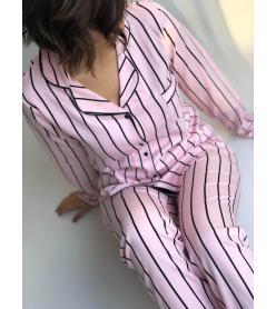 Pembe Siyah Çizgili Pamuk Saten Pijama Takım