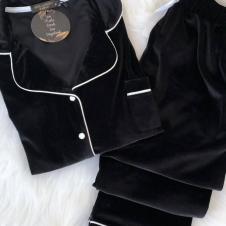 Siyah Kadife Pijama Takım