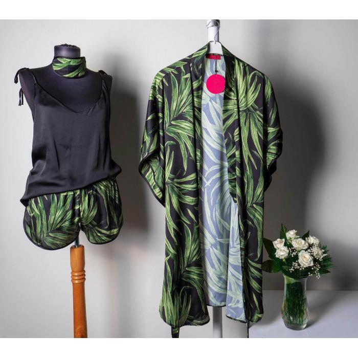 Yaprak Desenli Kimonolu Saten 4 lü Takım