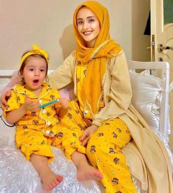 Baykuş Model Kısa Kol Anne Çocuk Pijama Takımı 1 Anne 2 Çocuk
