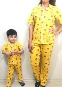 Baykuş Model Kısa Kol Anne Çocuk Pijama Takımı 1 Anne 1 Çocuk