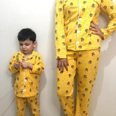 Baykuş Model Uzun Kol Anne Çocuk Pijama Takımı 1 Anne 2 Çocuk