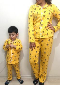 Baykuş Model Uzun Kol Anne Çocuk Pijama Takımı 1 Anne 1 Çocuk
