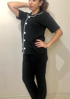 Düz Siyah Model Kısa Kol Bayan Pijama Takımı