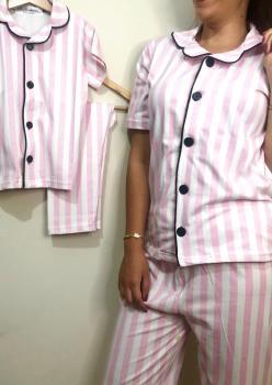 Victoria Model Kısa Kol Anne Çocuk Pijama Takımı 1 Anne 1 Çocuk