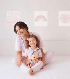 Victoria Model Kısa Kol Anne Çocuk Pijama Takımı 1 Anne 2 Çocuk