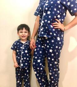 Yıldız Model Kısa Kol Anne Çocuk Pijama Takımı 1 Anne 2 Çocuk