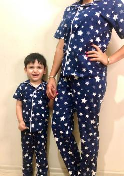 Yıldız Model Kısa Kol Anne Çocuk Pijama Takımı 1 Anne 1 Çocuk