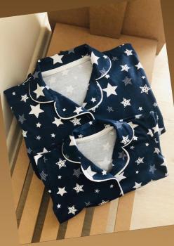 Yıldız Model Uzun Kol Anne Çocuk Pijama Takımı 1 Anne 1 Çocuk