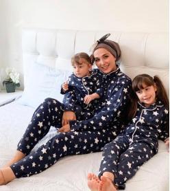 Yıldız Model Uzun Kol Anne Çocuk Pijama Takımı 1 Anne 2 Çocuk