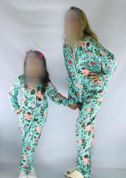 1 Adet Çocuk Çiçek Desen Pijama Takımı