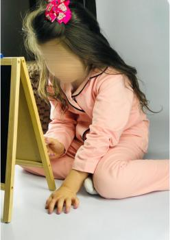 1 Adet Çocuk Somon Renk Pijama Takımı