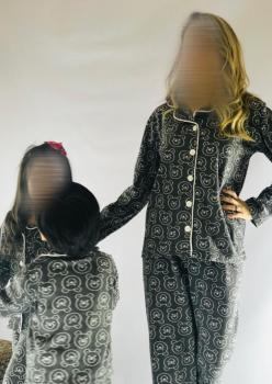 2 Adet Bayan İndigo Ayıcık Desen Anne - Genç Kız Pijama Takımı