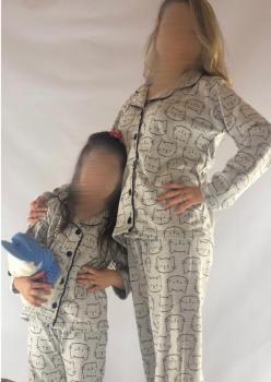 2 Adet Bayan Kedi Desen Anne - Genç Kız Pijama Takımı