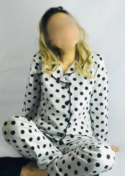 2 Adet Bayan Puantiyeli Anne - Genç Kız Pijama Takımı