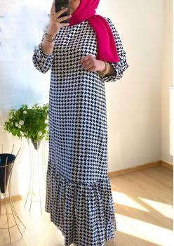 Kazayağı Desen Bayan Elbise cc003