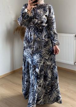 Lacivert Palmiye Desen Bayan Elbise cc004