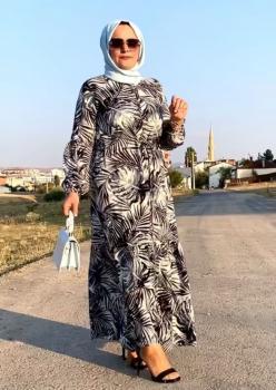Palmiye Desen Bayan Elbise cc001