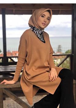 Triko Camel Yırtmaçlı Tunik
