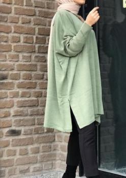 Triko Mint Yeşil Yırtmaçlı Tunik