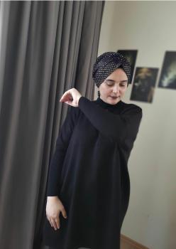 Triko Siyah Yırtmaçlı Tunik