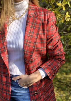 Kırmızı Ekoseli Blazer Ceket