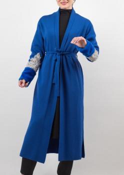 Saks Mavi Kolları İşlemeli Bayan Hırka