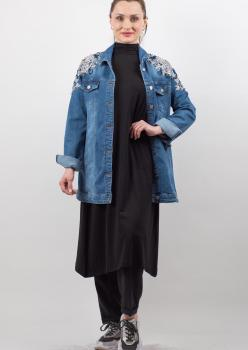Uzun Mavi İşlemeli Kot Ceket