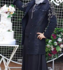 Uzun Siyah İşlemeli Kot Ceket
