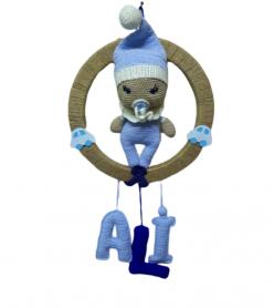 Amigurumi Organik Yıkanabilir El Örmesi  Bebekli Mavi Kapı Süsü
