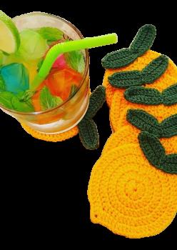 El örgüsü tasarım limon şeklinde yıkanabilir bardak altlığı