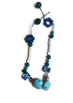 Kişiye Özel İsimli Emzik Zinciri,El Yapımı Tasarım Mavi/Pembe Renkli