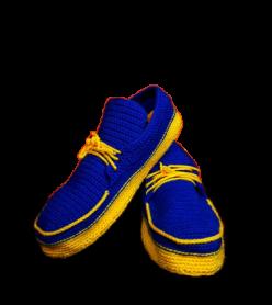Organik El Örmesi Sarı ve Lacivert Renkli Yıkanabilir Ev Ayakkabısı