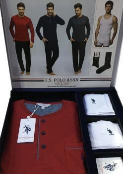 U.S. Polo Assn. Çamaşırlı Pijama Seti Damat Pijama Takımı